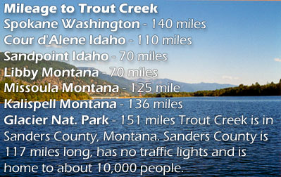 Estimated Mileage to Trout Creek
